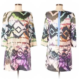 Ali Ro Silk 3/4 Sleeve Abstract Printed Dress